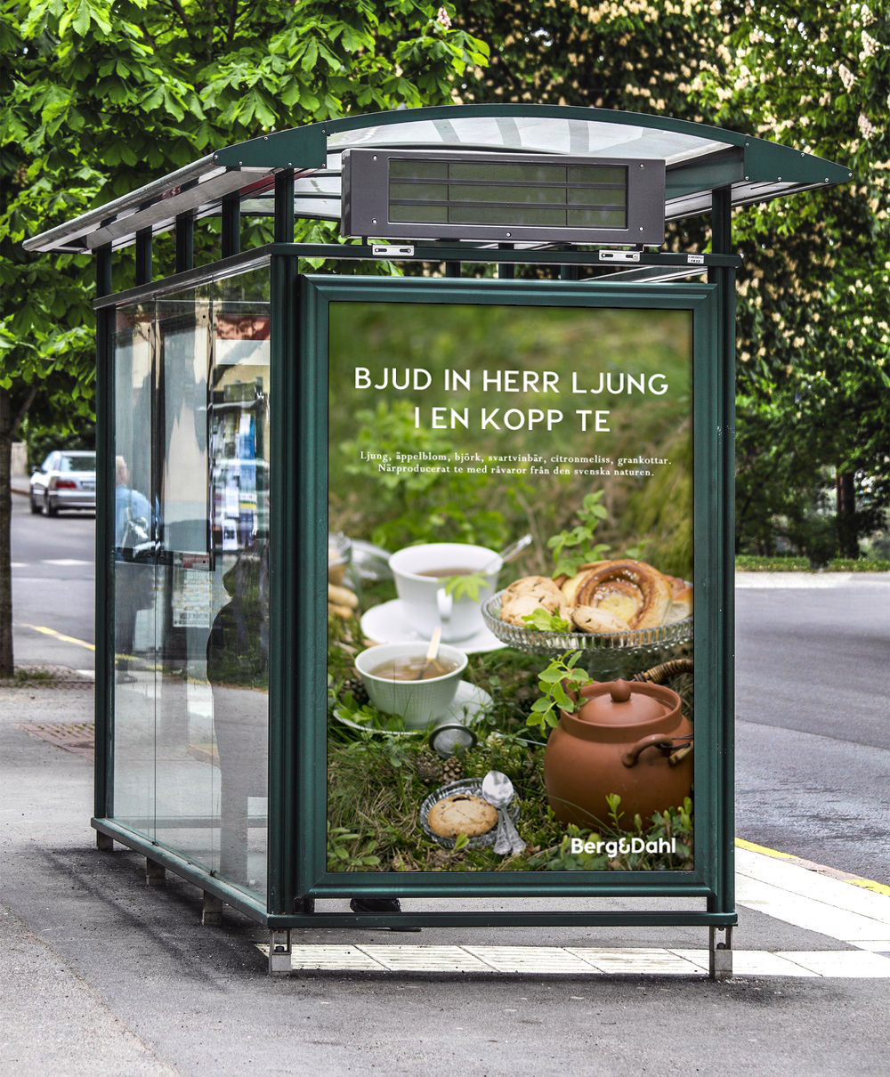 Bus stop with a blank billboard